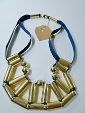 Lee Angel Women's Navy Grosgrian Ribbon Gold Bar Bib Necklace Nwt 110