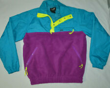 VTG Marker Apparel Blue Purple Color Block 1/4 Zip Pullover Fleece Ski Jacket L