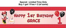 Personalised Baby, Child 1st or any age name Birthday Party Banner, Minnie Mouse