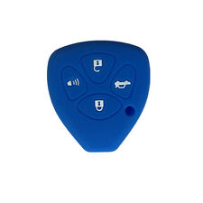 Navy Blue 4 Button Silicone Key Jacket Case Fob Skin Cover Holder fit for Toyota