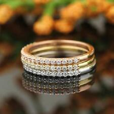 Solid 14K Tri Color Gold Natural Diamond Engagement Wedding Stackable Band Ring