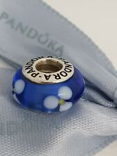 Authentic Pandora Blue & White 'Flowers For You' Murano Glass Charm 790609