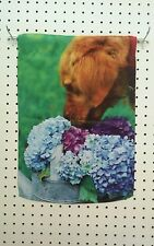 "12.5"" X 18"" Flower Girl - Dog Sniffing Hydranias Garden Flag"