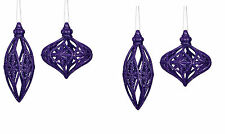 4 Large Purple Glitter Bauble Drops Christmas hanging ornament Tree Decorations