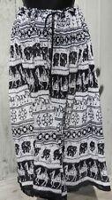 Camel & Elephant Block Print Black & White Sheer Crinkle Skirt w/ Bells - INDIA