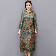 UK Womens Retro Chinese Folk Cheongsam Style Floral Cotton Silk Casual Mid Dress