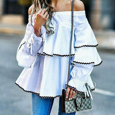 Womens Summer Loose Casual Off Shoulder Lace-Up Shirt Ruffle Blouse Tops UK 6-16