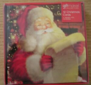 12 Pack Christmas Cards 2 Santa Designs Non Glittered Traditional With Envelopes
