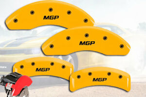 "1994-1997 Pontiac Firebird Front + Rear Yellow ""MGP"" Brake Disc Caliper Covers"