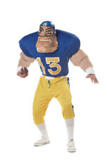 "Football Player Costume Comic ""Gridiron Goliath"" 3Pc Bl/Yell Shirt Pants Mask Lg"