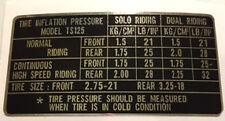 SUZUKI TS125 TYRE PRESSURE CAUTION LABEL
