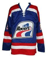 Any Name Number Size Indianapolis Racers Custom Retro Hockey Jersey Blue