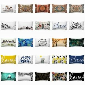 "12x20"" Cushion COVER White Double-Sided Lumbar Decorative Sofa Throw Pillow Case"