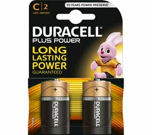 Pack of 2 Duracell Plus Power C Battery. Alkaline Cell C 2 MN1400 LR14