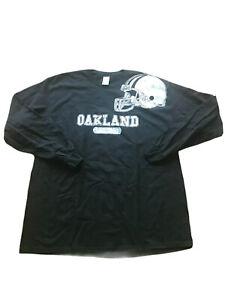 Gildan Oakland Raiders Longsleeve Shirt Mens XL Black Silver 100% cotton