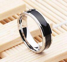 50stk. Edelstahl Ring silber 6mm breit herren Partnerringe damen Ringe schwarz
