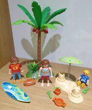 Playmobil Beach Bundle Set - Sandcastle, Figures, Surf Board, Palm Tree, Radio