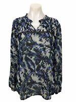 Ann Taylor Loft Floral Ruffle Long Sleeve Blouse Top Shirt Size M Women's