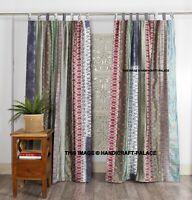 1 Paire Indien Gris Soie Sari Patchwork Rideaux Drapé Décoration Fenêtre Porte