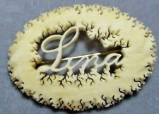 "Name Pin/Brooch ""Lina"" Hand Carved"