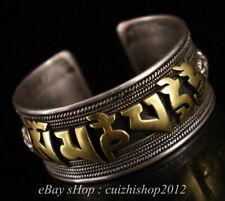 "2"" Rare Old Tibet Tibetan Silver Gilt Buddhism Scripture Dragon Bracelet"