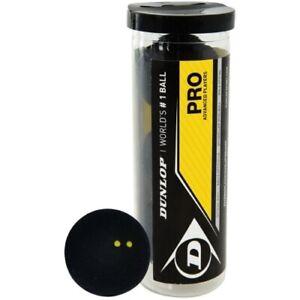 Dunlop Squashbälle Prodoppelt gelber Punktgummi schwarz 3 Stück