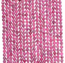 """2MM RED PINK RUBY GEMSTONE GRADE AAA MICRO FACETED ROUND LOOSE BEADS 16"""""""