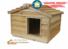 LARGE HEATED INSULATED CEDAR OUTDOOR CAT HOUSE SMALL DOG HOUSE SHELTER