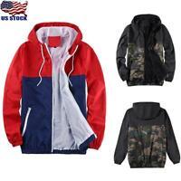 Men's Zipper Camouflage Rain Jacket Army Coat Hooded Sport Windbreaker Outwear