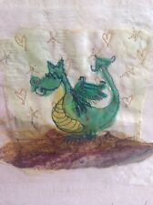 New ABIGAIL MILL Original Green Dragon Embriodery Art Collage Painting