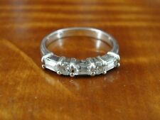 Sterling Silver 925 Ring Size 7 Rectangle and Round Cubic Zirconia Stones Band