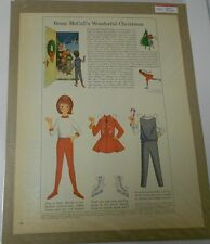 1964 BETSY McCALL Paper Dolls Full Page Clipping Christmas 10x14 Color FN+