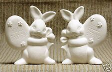 Ceramic Bisque Bunnies with Eggs Clay Magic Mold 1717 U-Paint Ready To Paint