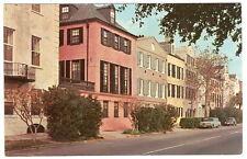 SOUTH CAROLINA Charleston ROW HOUSES Bay Street VW Falcon 1960's Photo Postcard