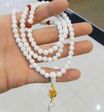 108 Tibetan Buddhist White Tridacna Gigas Gems Prayer 8mm Round Beads Necklace