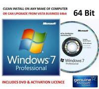 Win 7 Pro 64bit on Microsoft DVD + Key - Clean Install or UPGRADE VISTA Business