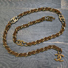 CHANEL Gold Plated Dark Brown Suede CC Logos Vintage Chain Belt #7124a Rise-on