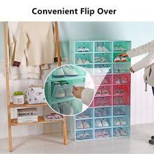 Storage Clear Organizer Stackable Boxes Foldable Plastic Transparent Shoe Box
