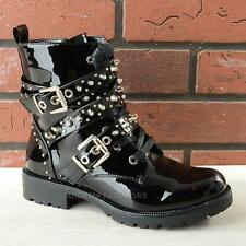 Womens Ladies Studded Chunky Flat Low Block Heel Lace Up Zip Ankle Boots Size