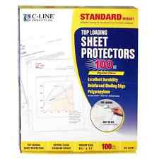 100 C-Line Clear Sheet Page Protectors 8.5x11, Poly / Plastic, Top Load .