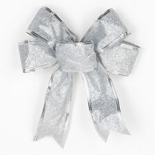 1pc Christmas Tree Bows Bowknot Ornament Xmas Party Gift Present Decor Silver