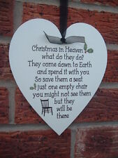 shabby vintage chic christmas in heaven hanging wooden heart remembrance sign