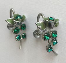 Vintage Earrings - Emerald Green Stone Rose Design Screw Back Earrings