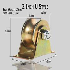 "2 Pack 2""inch Sliding Gate Roller Steel U Type Wheel Track Rail w/Bracket"