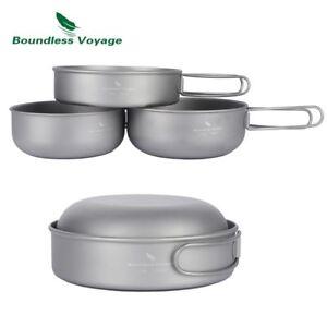 GoGear Titanium 3 Piece Camping Cookware Set: Ultralight, Cooking, Hiking, Pan