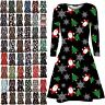 Womens Kids Childrens Girls Santa Snowman Christmas Xmas Skater Mini Swing Dress