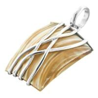 """1 3/8"""" GOLD MOTHER OF PEARL TURBO SHELL 925 STERLING SILVER pendant"""