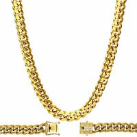 Cuban Link Chain Necklace 18K Gold Plated Stainless Steel Men Fashion Jewelry