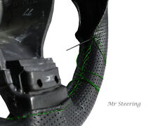 FOR SKODA OCTAVIA 2 BLACK PERFORATED LEATHER STEERING WHEEL COVER GREEN STITCH