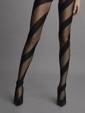 Collant sexy voile fantaisie noir bandes opaques original FIORE CANDY T2 T3 T4